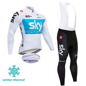 TENUE DE CYCLISME SKY Maillot cycliste en laine polaire d'hiver pour
