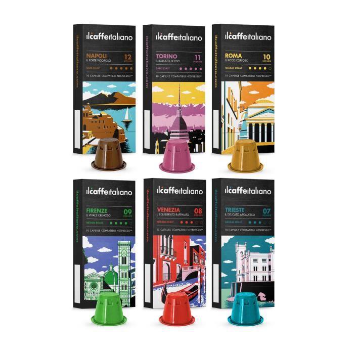 60 Capsules de café compatibles Nespresso - Kit de dégustation Tour d' Italia - Il Caffè Italiano