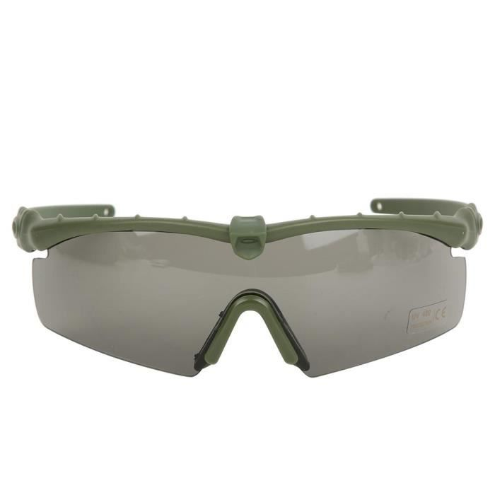 Lunettes militaires coupe-vent et anti-sable Lunettes tactiques Protection anti-choc pour les yeux (Vert militaire)-CHE