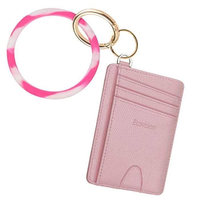 Porte-Cartes CHFE7 Portefeuille porte-clés, Bracelet porte-clés avec blocage RFID Portefeuilles porte-cartes minces avec DShackle dé