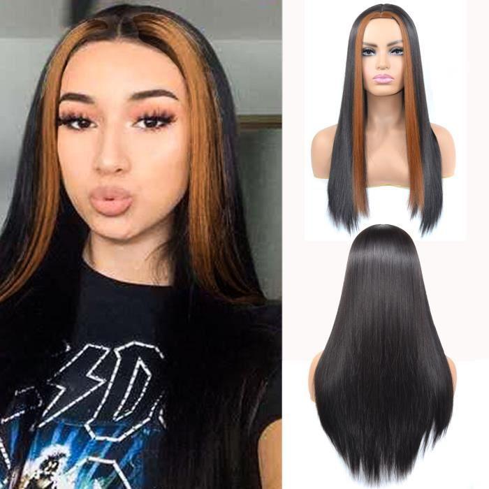 60CM Perruque brune teinte droite de long, perruque naturelle, cheveux raides pour femmes, cheveux brésiliens