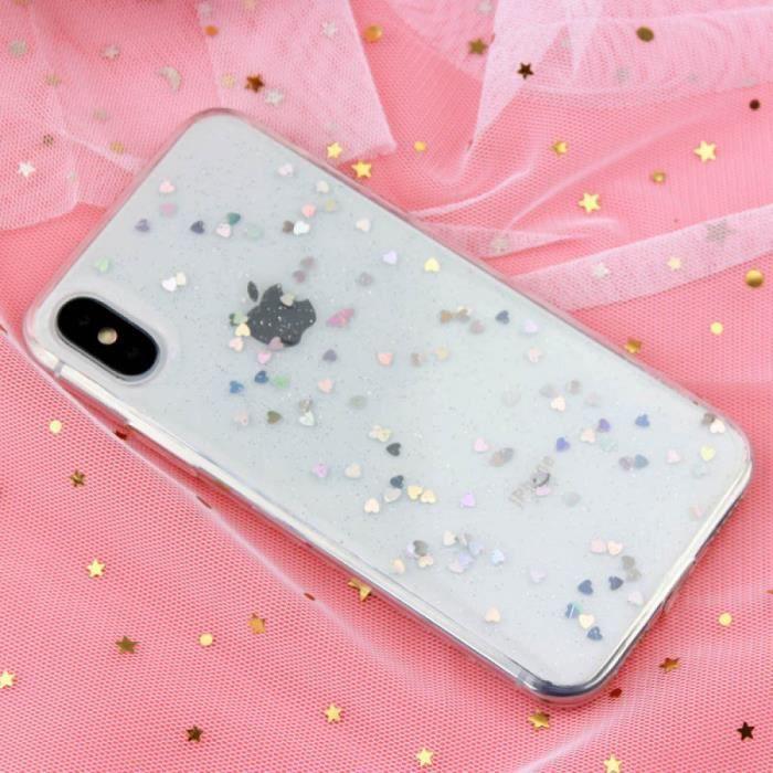 Coque, iPhone XS, Magnifique Heart Clear QINUO Étoile Amour Coeur Paillettes Téléphone étui iPhone Max Bling iPhone 6 Paillettes