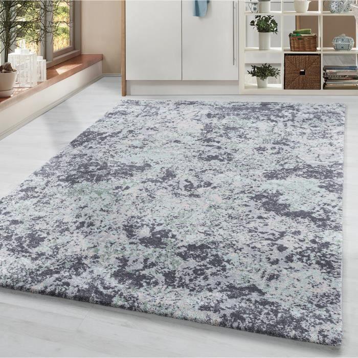 Tapis de salon tapis à poils courts tapis motif taches de vintage gris crème [Verte, 80x150 cm]
