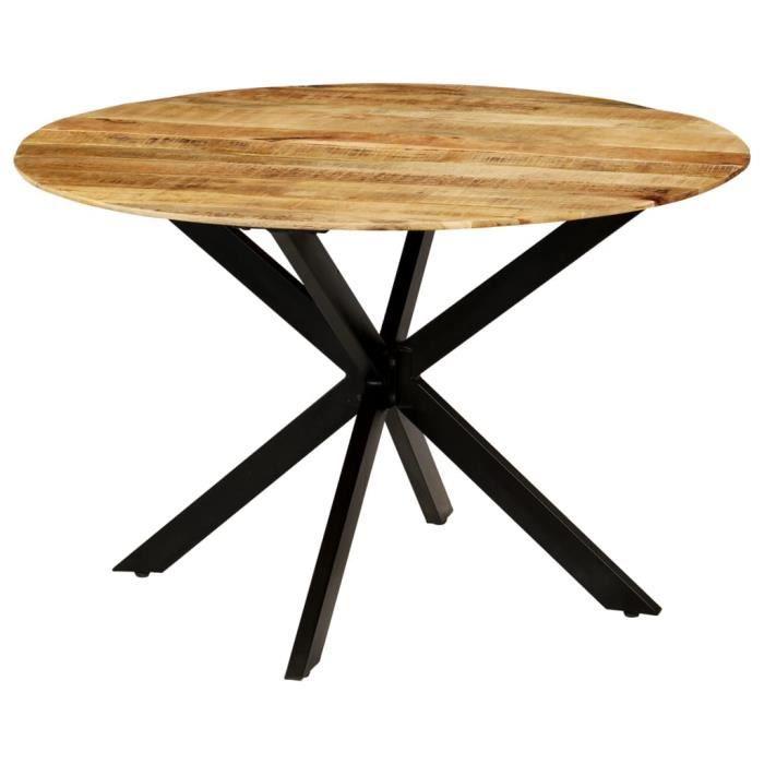Table à manger 2 à 4 personnes - Style industriel - 120 x 77cm - Table Bois de manguier brut et Acier