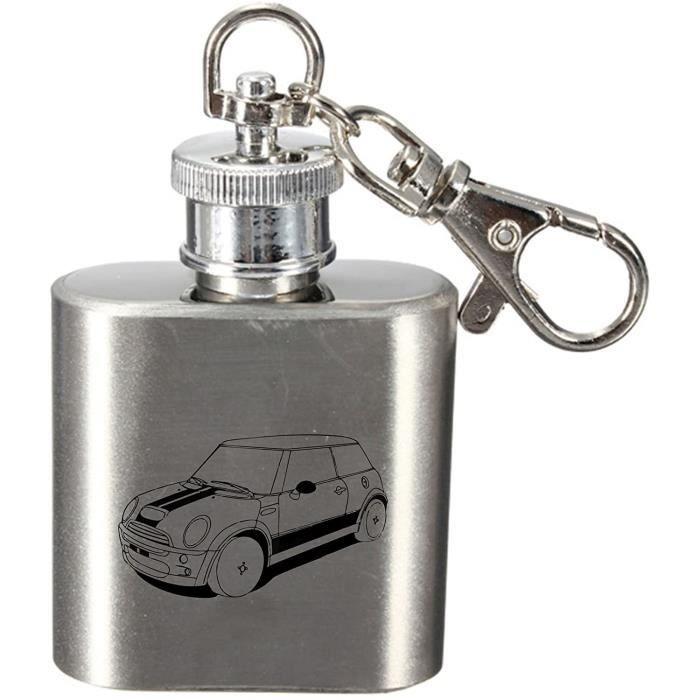 Laser Gravé 28.4ml Flasque en Acier Inoxydable Clé Anneau Avec Moderne Mini Cooper Design