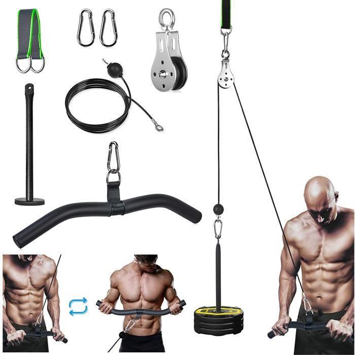 Poulie Musculation Système de Fitness avec Câble pour Traction LAT et Soulever, 2m DIY Équipement avec Poignées et Plaque pour Exerc