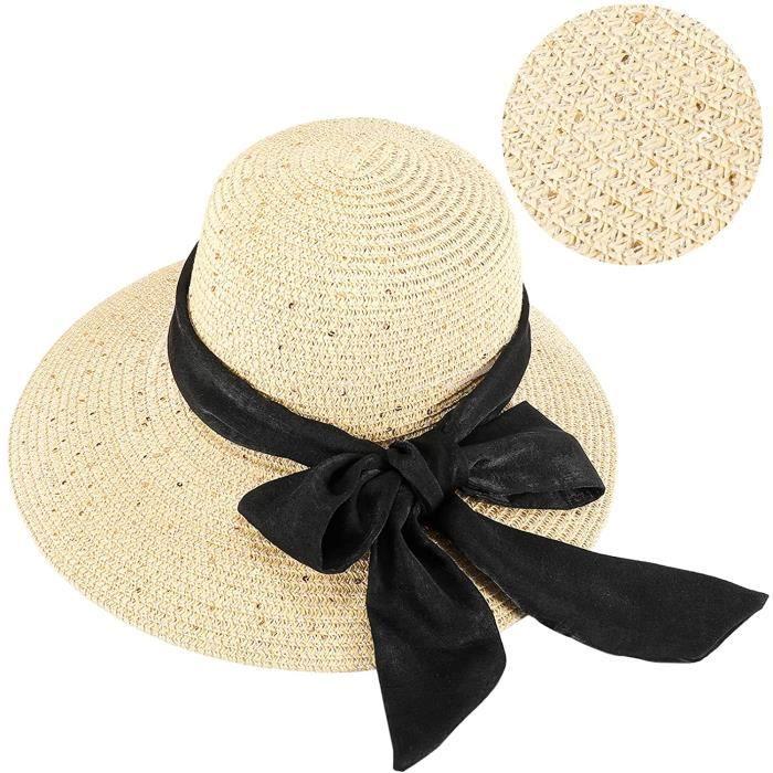 GIKPAL Chapeau de Paille Pliable Femme, Chapeau de Paille Large Bord, Capeline Plage Soleil Anti-UV Élégant Chic avec Un Joli Ruban