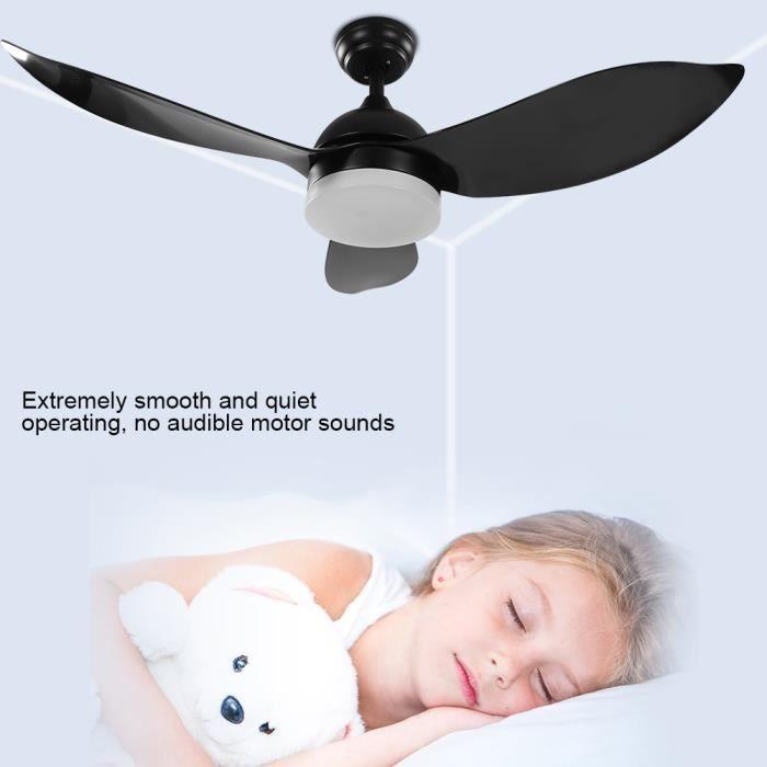 48 po Universal Ventilateur De Plafond Lampe Sans Fil avec télécommande (noir) -JID