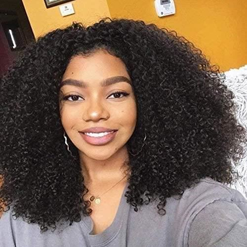 BLISSHAIR 16 Pouces Bresilienne Lace Wig Perruque Kinky Afro Curl Perruques Cheveux Wig Human Curly Kinky Human Hair Natural 405