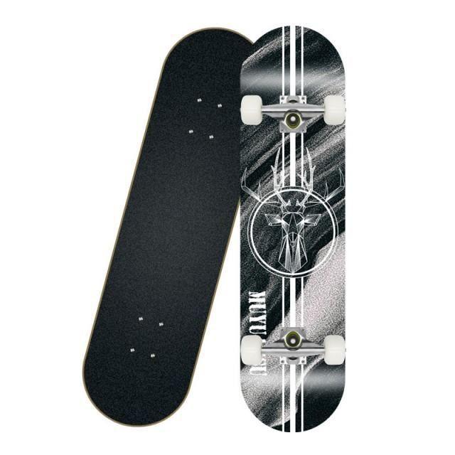 EGSII 80cm Skateboard Adulte Longboard Planche à Roulettes Cerf