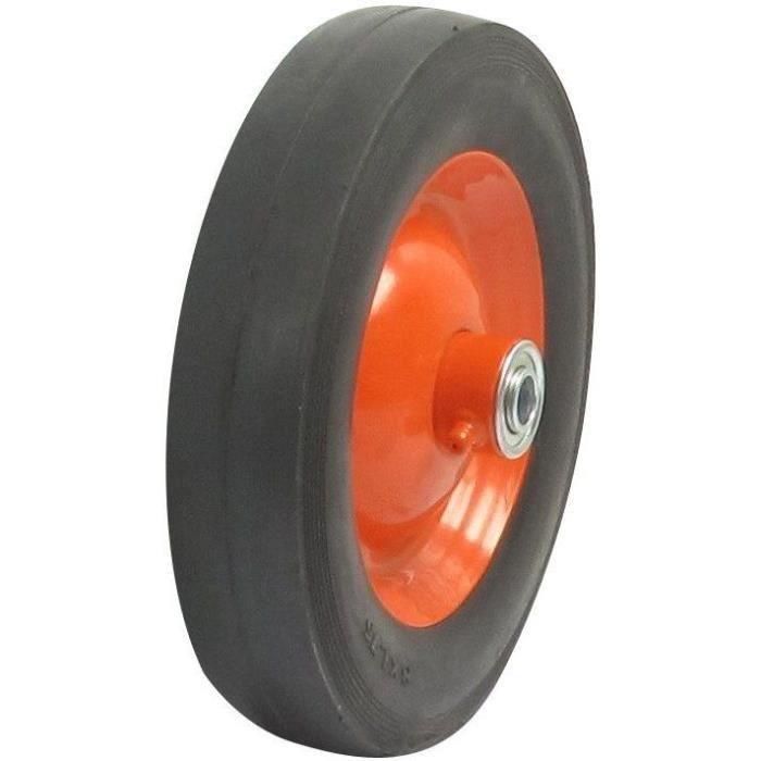 Roue PRO en acier sur roulement moyeu déporté adaptable pour LAWN BOY couleur orange, avec graisseur - Profil lisse - Ø: ext: 152mm