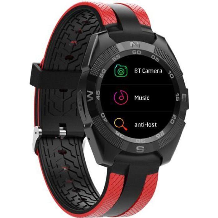 Montre Connectée Sport Imperméable - Bluetooth Smart Watch Cardiofréquencemètres 1.55in Écran HD IPS - Rouge