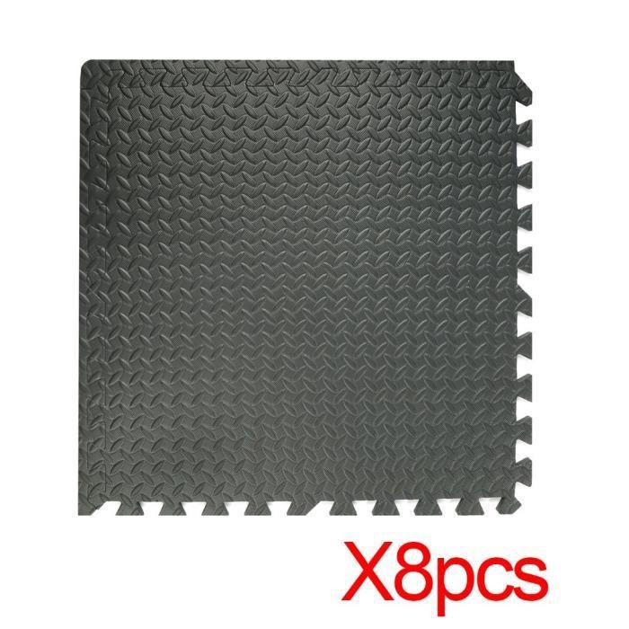 8 tapis mousse de sol antidérapant - 60cm x 60cm - noir