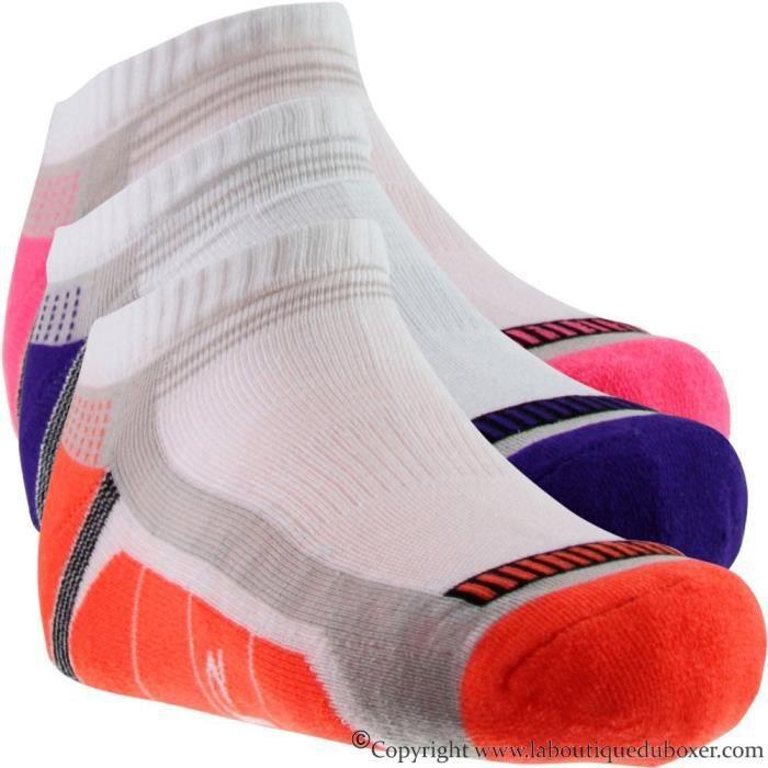SOCKS EQUIPEMENT Lot de 3 paires de Socquettes Femme Microcoton LESTECHNIK Blanc Multicolore