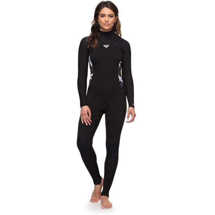 Combinaison de surf manches longues 3-2mm Femme Roxy Syncro Series Chest Zip GBS - 3-2mm Noir-Blanc