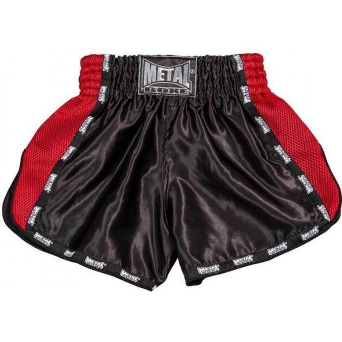 Short de boxe kick/thaï noir et rouge Métal Boxe