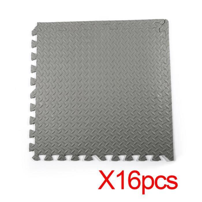 16 pcs gris durables imbriquées en mousse Eva tapis coussinets tapis de sol de salle de garage