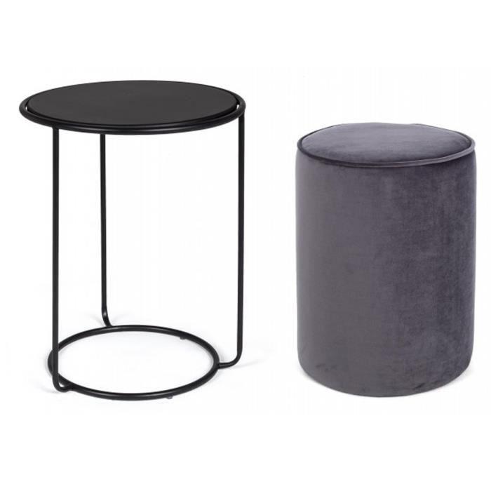 Set de table basse avec pouf coloris gris foncé en fer et bois