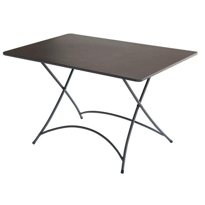 Table rectangulaire de jardin en fer forgé coloris gris anthracite - Dim : H 72 x L 120 x P 80 cm