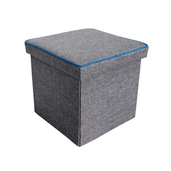 pouf coffre de rangement pliable carr somy en tissu gris. Black Bedroom Furniture Sets. Home Design Ideas