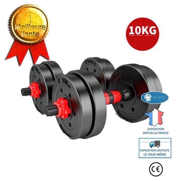 TD® Haltère de musculation haltère de fitness haltère de musculation 10kg Équipement de fitness à domicile pour hommes Amovible