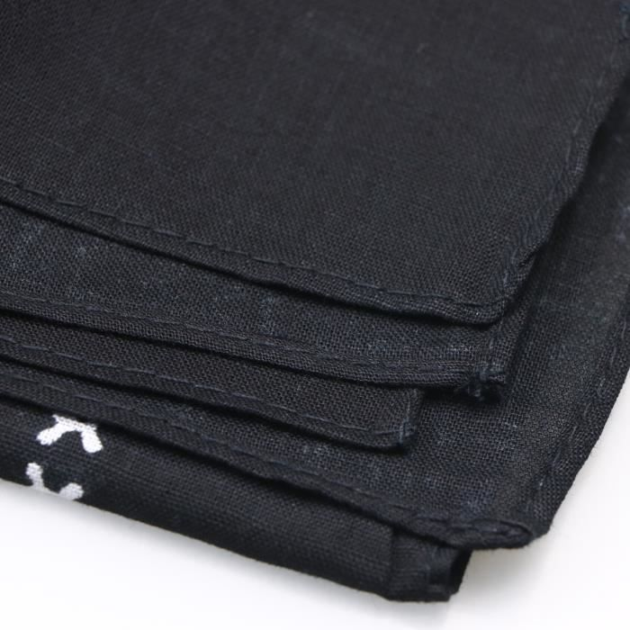 Bandana Noir avec Dessin de Crâne Blanc Recto-Verso Foulard