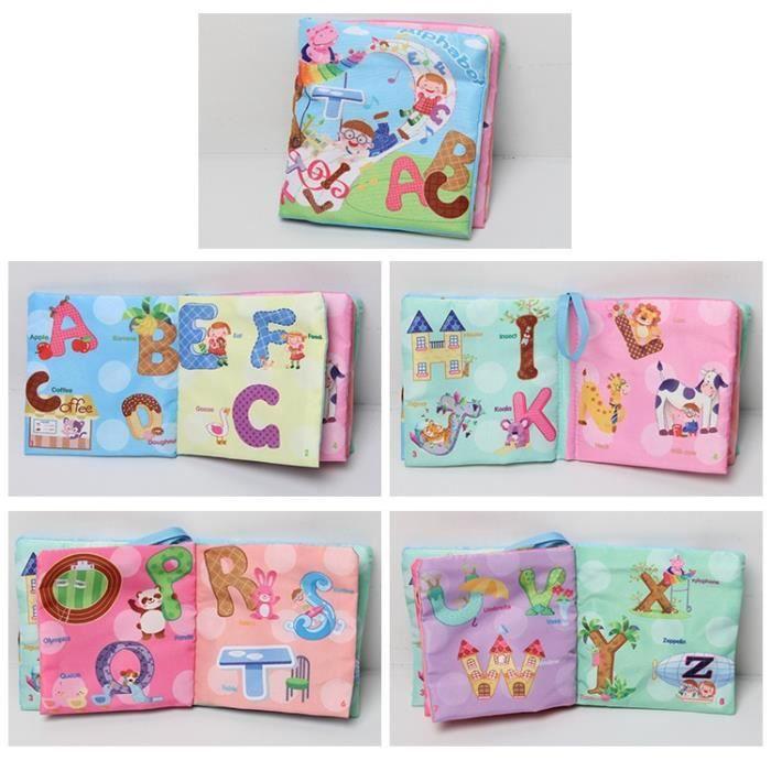 Livre Bébé d'Activités en Tissu Alphabet Jouet Éducatif Cadeau Pour Bébé