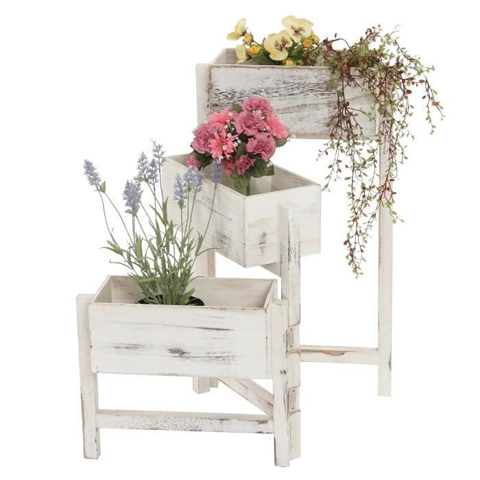 meuble pour plantes style blanc marron 3 tages achat vente meuble support plante meuble. Black Bedroom Furniture Sets. Home Design Ideas