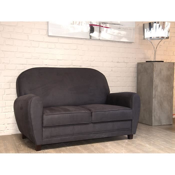 canap 2 places imitation vieux cuir gris club meuble house achat vente canap sofa. Black Bedroom Furniture Sets. Home Design Ideas