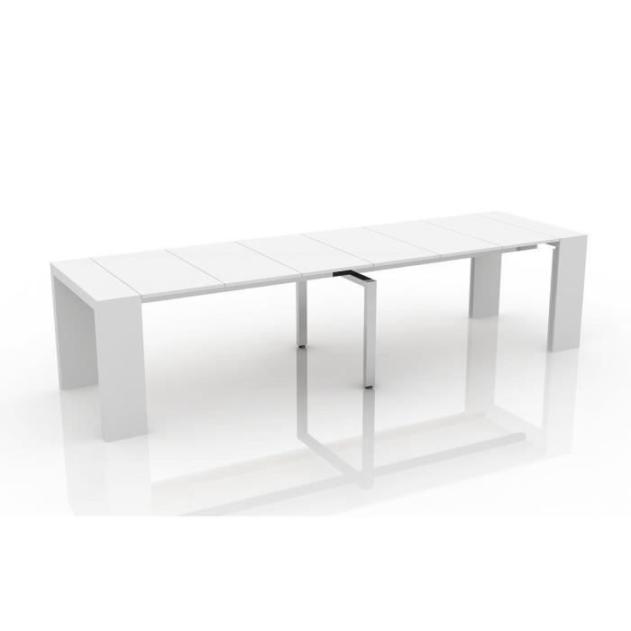 Table console extensible othello 6 allonges laqu blanc brillant 3m15 ach - Cdiscount console extensible ...