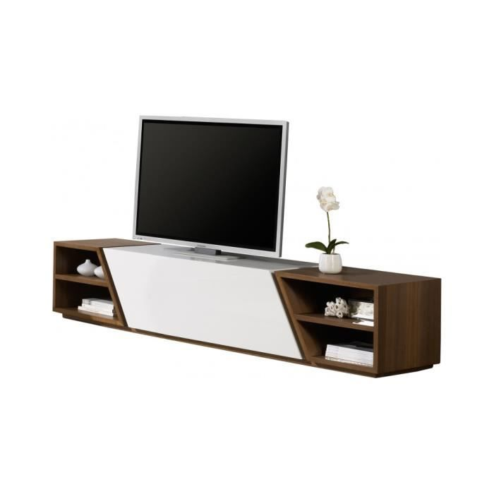 banc tv design laque et noyer 1 porte achat vente meuble tv banc tv design laque et noy. Black Bedroom Furniture Sets. Home Design Ideas