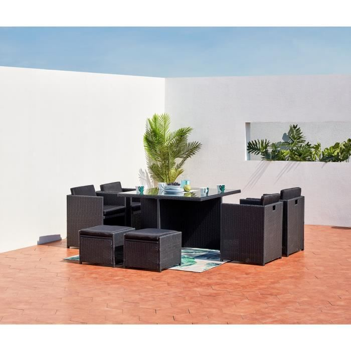 miami 8 salon de jardin encastrable 8 places en r sine tress e noir noir achat vente salon. Black Bedroom Furniture Sets. Home Design Ideas