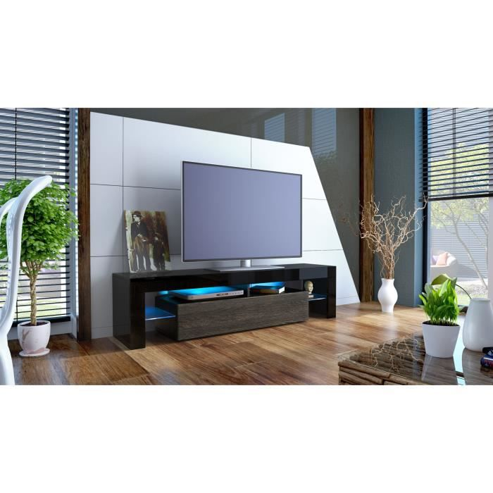 meuble tv noir et bois weng 151 cm achat vente meuble. Black Bedroom Furniture Sets. Home Design Ideas