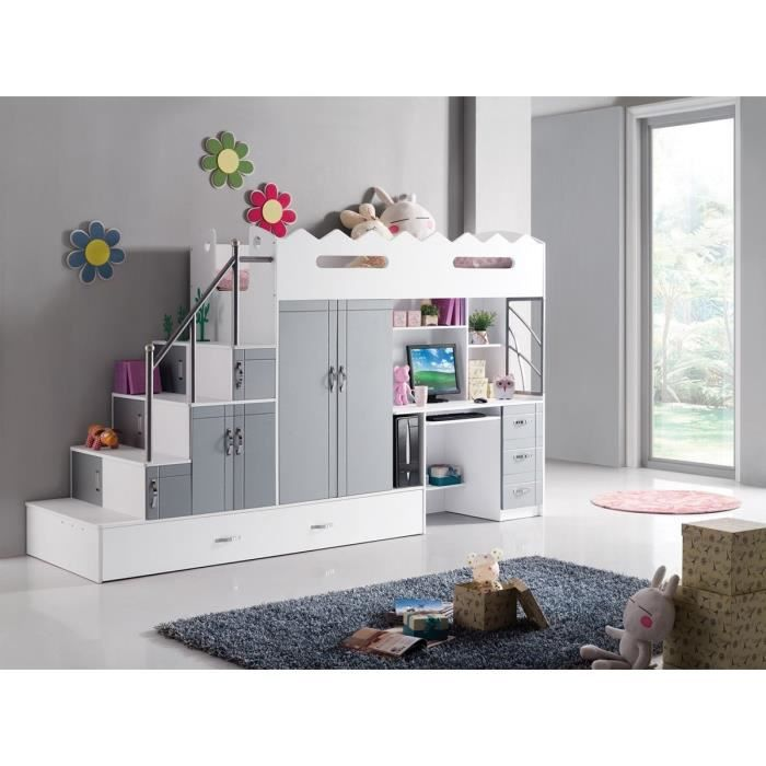 lit design enfant multifonction avec bureau et rangements donjon blanc achat vente structure. Black Bedroom Furniture Sets. Home Design Ideas
