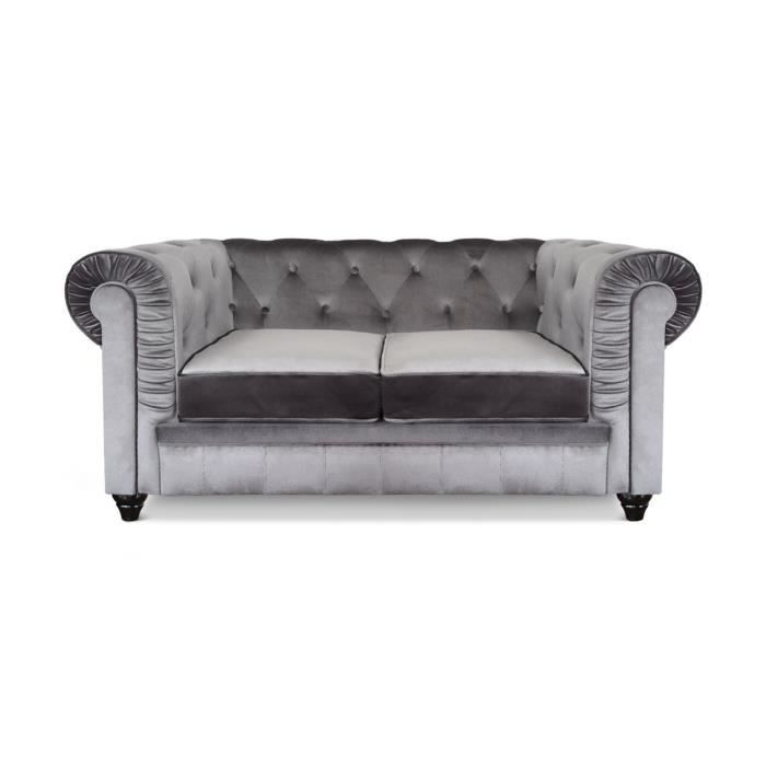 Canap chesterfield 2 places velours argent achat vente canap sofa d - Canape chesterfield 2 places ...