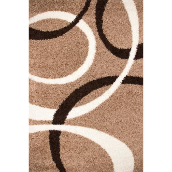 tapis shaggy avec motif coloris beige achat vente tapis cdiscount. Black Bedroom Furniture Sets. Home Design Ideas