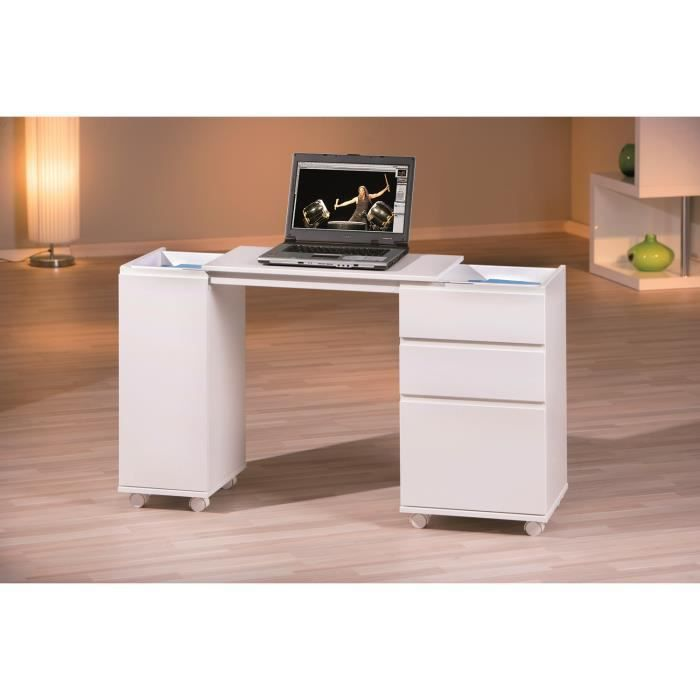 bureau extensible coloris blanc laqu achat vente bureau bureau extensible coloris b bois. Black Bedroom Furniture Sets. Home Design Ideas