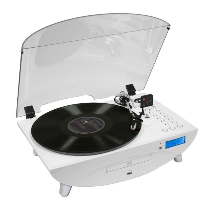 tourne disques radio cd encodeur usb blanc platine. Black Bedroom Furniture Sets. Home Design Ideas