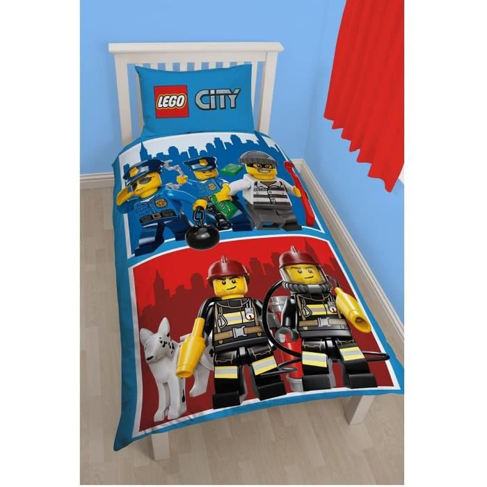 parure de lit lego city pompier police achat vente parure de couette cdiscount. Black Bedroom Furniture Sets. Home Design Ideas
