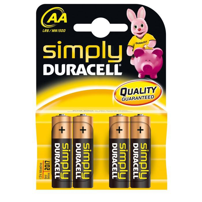 duracell pile alcaline aax4 simply lr6 achat vente piles les soldes sur cdiscount. Black Bedroom Furniture Sets. Home Design Ideas