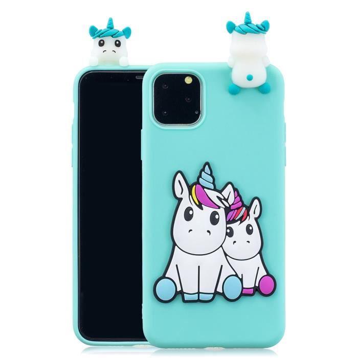 coque iphone 11 licornes 3d mignon silicone en gel