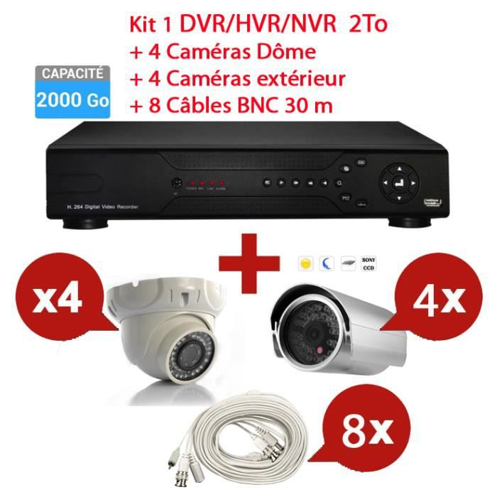 kit enregistreur 2to vid o surveillance 8 cam ras prix pas cher cdiscount. Black Bedroom Furniture Sets. Home Design Ideas