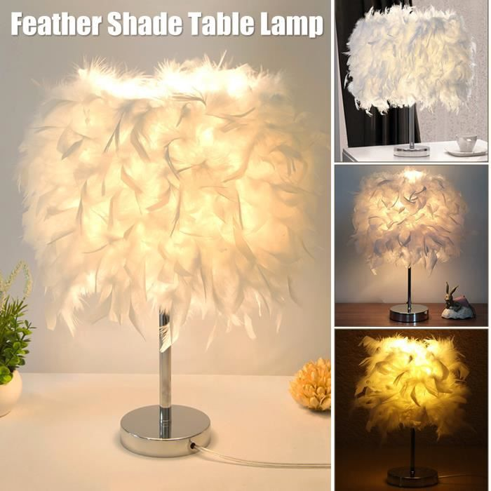 Métal Vintage blanc plume lampe de table élégante chevet Bureau lumière décor