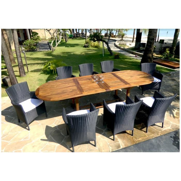 Salon en teck table 300 cm avec 8 fauteuils en r sine for Table de salon en teck occasion