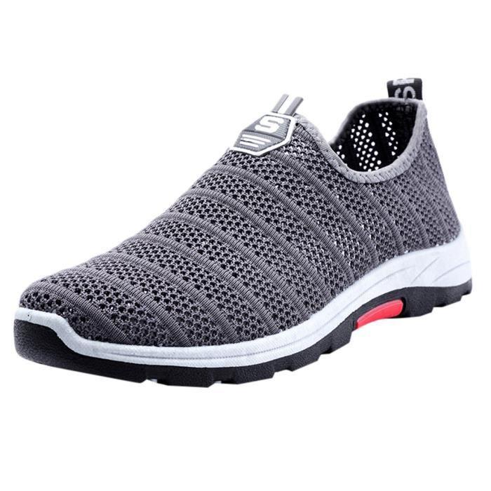 Creux hommes tissé maille respirante Chaussures de sport léger doux Baskets non-Slip gris   JFKAJC6275