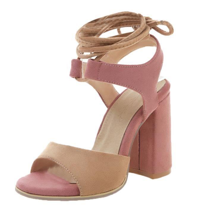 Poisson Bouche Sandales d'été Femmes Mode bout ouvert talon haut Anke Sandales Strap Rose   JFKAJC18427