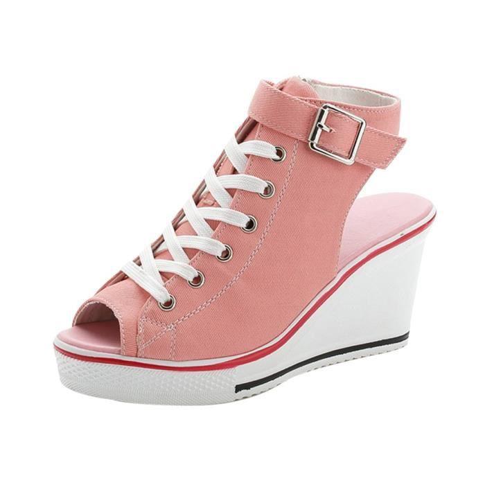 Femmes Chaussures montantes en toile Peep Toe Creepers Compensées Boucle réglable Chaussures Sandales_7601oew806