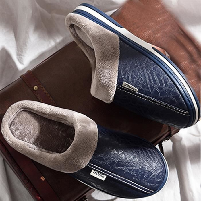 Hommes Couples solide chaud sol antidérapants Pantoufles Chaussures Indoor femmes Marine