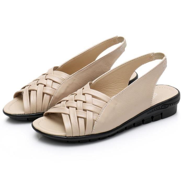 Été Femmes Chaussures Sandales plates en cuir ouvert Toe Mère Compensées SandalesGYE90508134BG40Beige