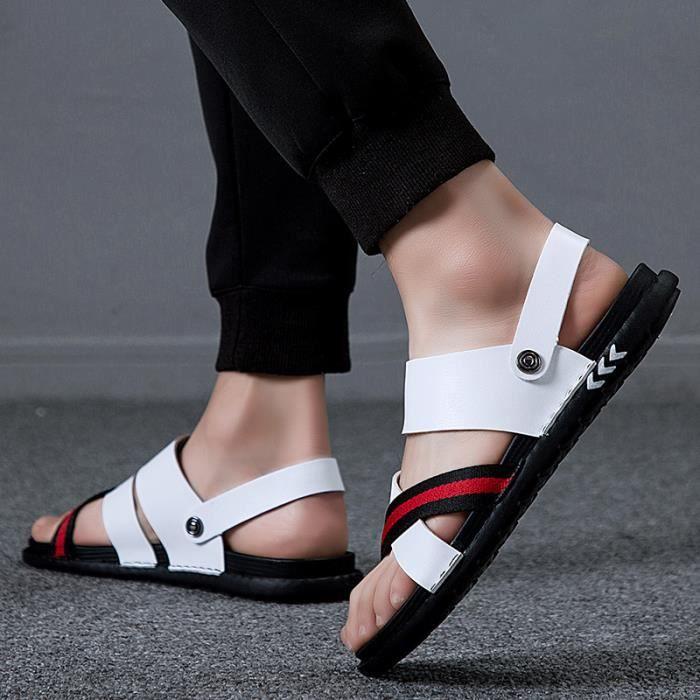 Été nouveaux Mâle Chaussures Mode Casual Hommes Sandales Respirant Chaussures De Plage Légères YXZ-tianshi565743Blanc38-37